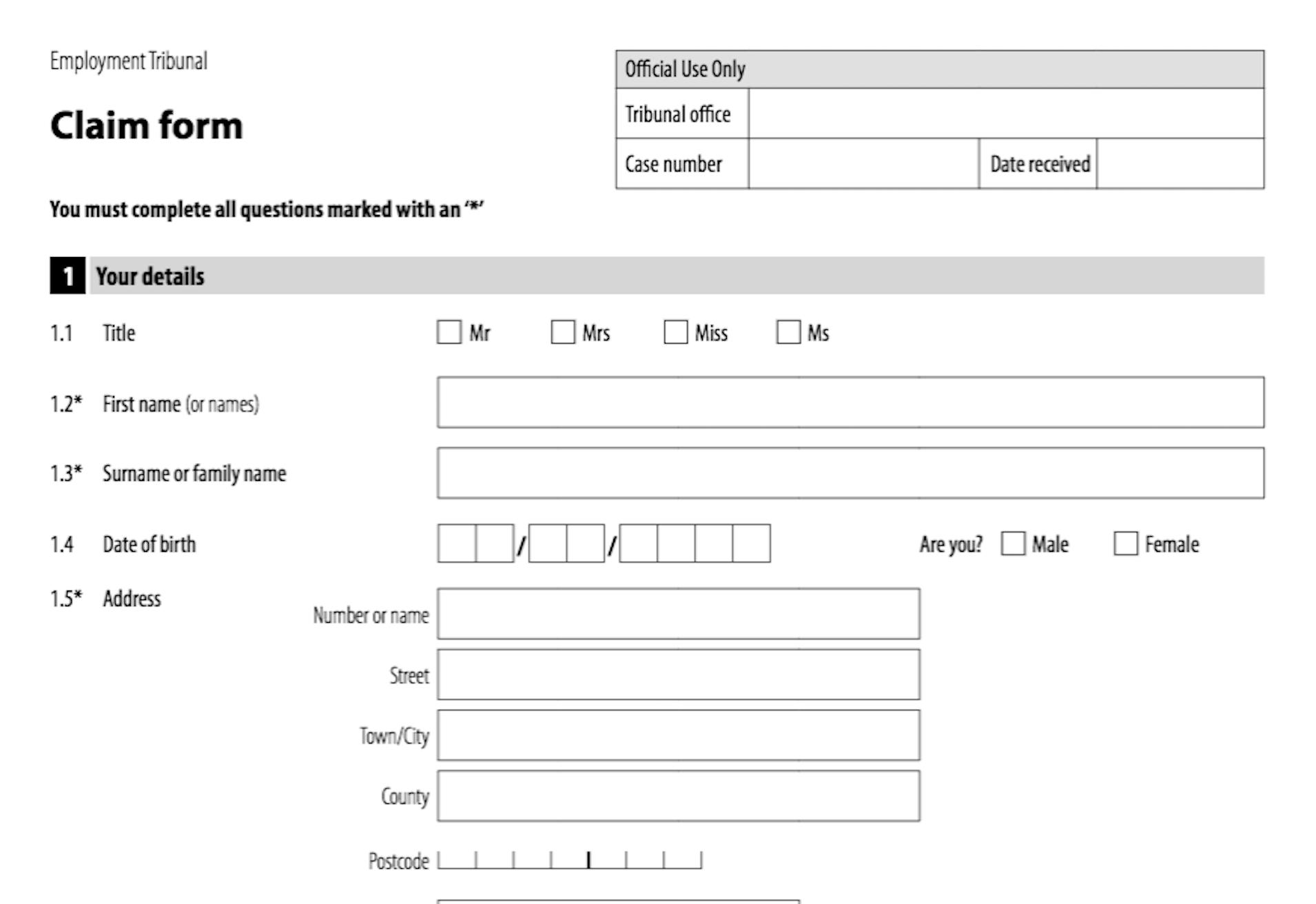 Employment Tribunal Timeline ET1 Form